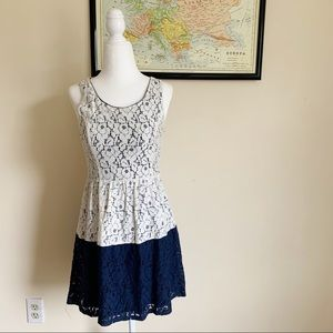 RUE 21 | blue and cream floral lace dress